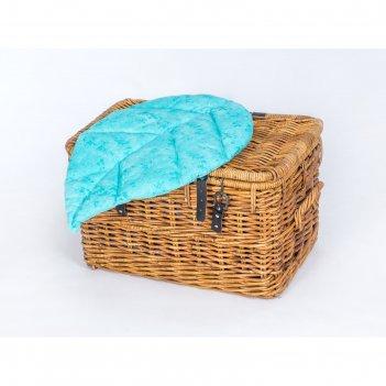 Подушка на стул листочек 67х45 см, жаккард голубой, синтетическое волокно