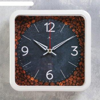 Часы настенные, серия: кухня,  кофе в зернах, 22х22см, плавный ход