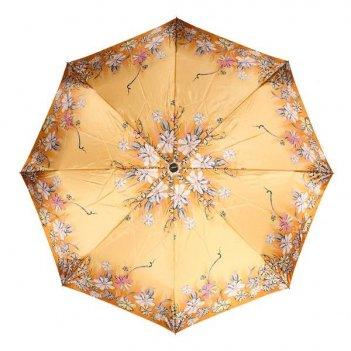 Зонт 23, полный автомат (атласный, цветы на золотом фоне)