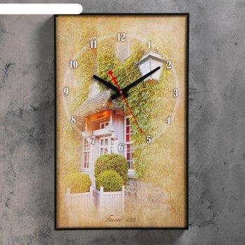 Часы-картина французский дворик, 37х60 см ( стрелки микс)