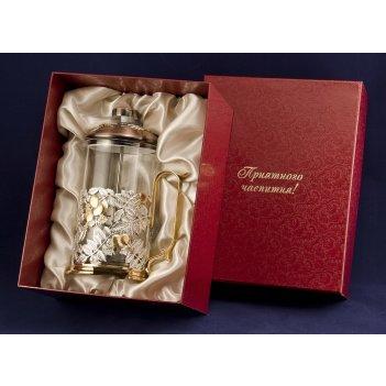 Френч-пресс шиповник латунь, покрытие (серебро, золото) арт. фп-02 сз