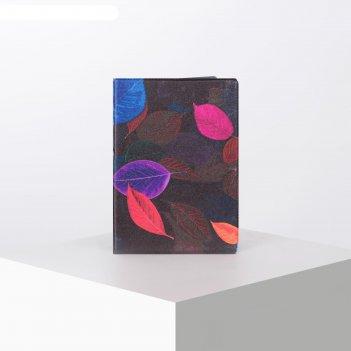 Обложка для паспорта 9,5*0,5*13,5см,листья на черном фоне