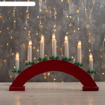 Фигура дерв.горка рождественская красная 2, 7 свечей, 3 вт, 34 в, е10, 220