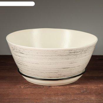 Горшок для цветов бонсайница большая, глянец, чёрно-белое 5,5 л