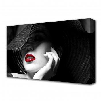 Картина на холсте дама в шляпе 60*100 см
