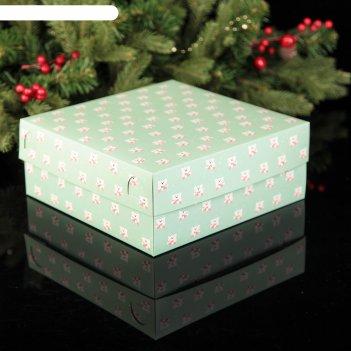 Коробка картонная на 9 капкейков медвежата, 25 х 25 х 10 см