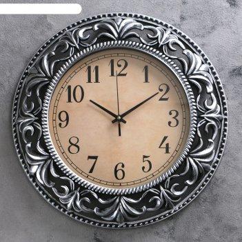 Часы настенные интерьерные, круг, ажурные узоры по кайме, цвет рамы темное