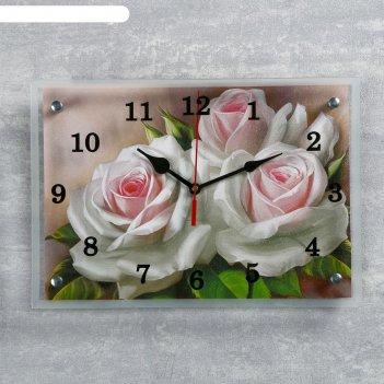 Часы настенные, серия: цветы, розы, 25х35 см микс