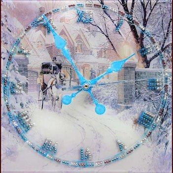 Картина сваровски - часы зимняя дорога
