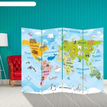 Ширма детская карта мира и солнечная система, двухсторонняя, 200 x 160см