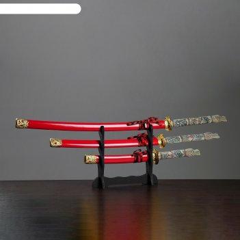 Катаны сувенирные 3в1 на подставке, красные ножны, рукоять под слоновую ко