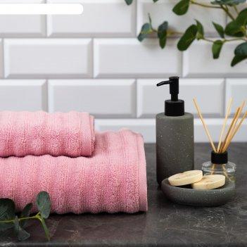Полотенце махровое этель waves розовый, 70х130 см, 100% хлопок, 460 гр/м2