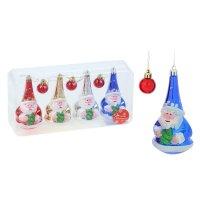 Ёлочные игрушки деды морозы и шарики (набор 7 шт.)