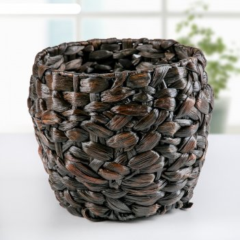 Кашпо плетеное косичка микс 19х19х17 см,  цвет коричневый
