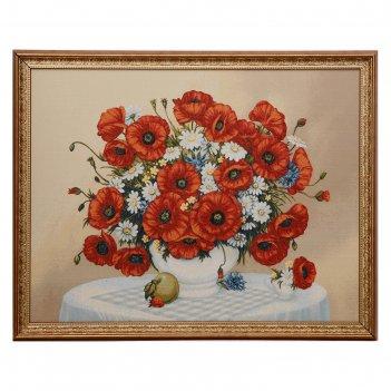 Гобеленовая картина 103х78 см, №2 ваза с маками и ромашками