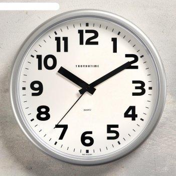 Часы настенные классика плавный ход, d=22.5 cм, серые