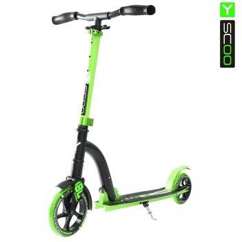 Самокат y-scoo rt 180 slicker с амортизатором deluxe green