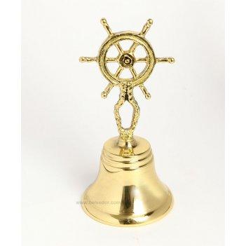 1916 бронзовый колокольчик - штурвал золотой 14х6,5см