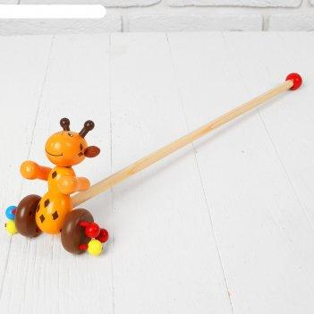 Каталка жирафик, на палочке, колёса с бусинками
