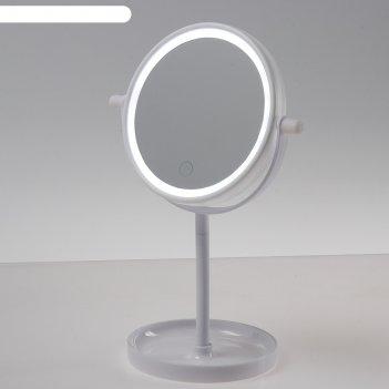 Зеркало luazon kz-04, подсветка, 19,5 x 13 x 29,5 см, 4*ааа, сенсорная кно