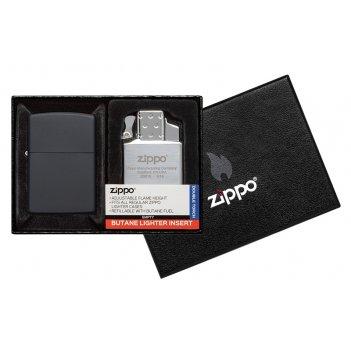 Набор zippo: зажигалка 218 с покрытием black matte и газовый вставной блок