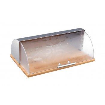 Хлебница деревянная с комбинированной крышкой нжс+пластик 38*27*14 см (кор