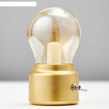 Ночник настольный 16058/1gd led акб usb золото 5,8х5,8х11 см