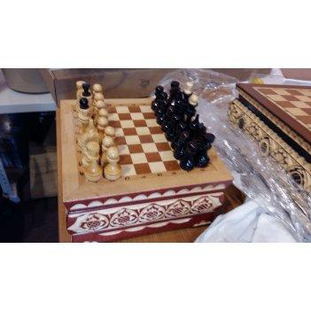 Шахматы резные ручной работы в ларце малые 20х20см
