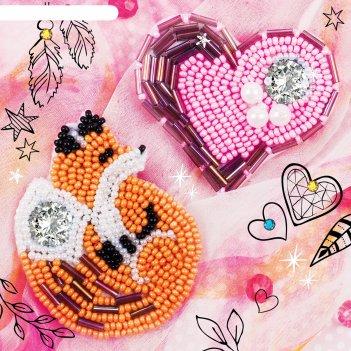 Набор для создания броши из фетра лиса и сердечко с вышивкой бисером, леск