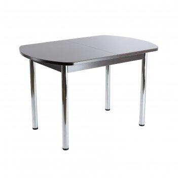 Стол раздвижной стин, 1100(1420)х700х760, венге/черный/хром прямые
