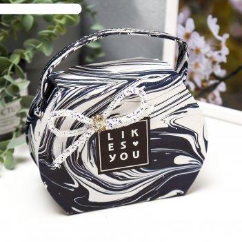 Шкатулка кожзам для украшений мрамор чёрно-белый сумочка 12х16х7 см