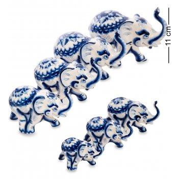 Гл-531 фигурка слон набор 7шт. (гжельский фарфор)