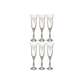 Набор бокалов для шампанского из 6 шт.елочные игрушки 190 мл. высота=25 см