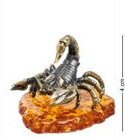 Am-1395 фигурка скорпион каменный (латунь, янтарь)