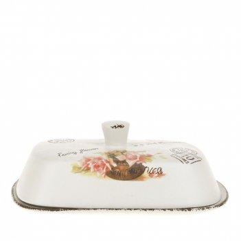 Масленка персиковая роза 18,5*12,5*7см. (керамика) (подарочная упаковка)