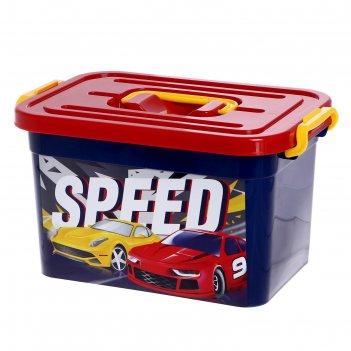 Ящик для игрушек 80901 « супер тачки» с крышкой и ручками, 6,5 л