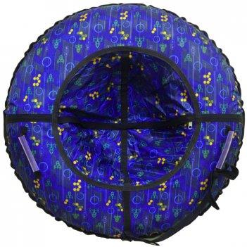 Тюбинг 92 см (средние) круги и ракеты на темно синем, синее дно