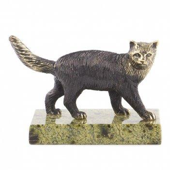 Статуэтка кот идет бронза змеевик 85х45х60 мм 220 гр.