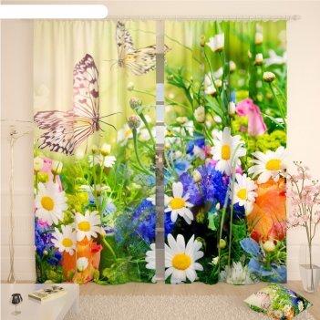 Фотошторы «луговые бабочки», размер 145 x 260 см, габардин