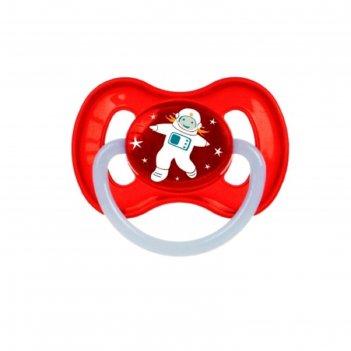 Пустышка латексная canpol babies space, круглая, от 0-6 месяцев, цвет крас