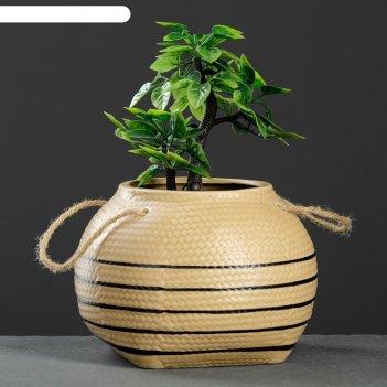 Кашпо керамическое плетеное шар 16,5*13см