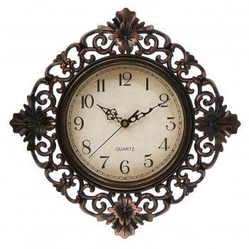Часы настенные серия жанна, витиеватые, ретро циферблат, коричневые, 35х4х