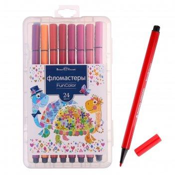 Фломастеры 24 цвета funcolor, в пластиковом пенале, микс из 2 видов
