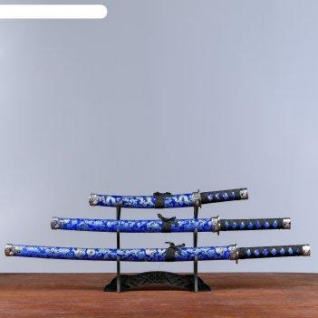 Катаны сувенирные 3в1 на подставке, ткань, синие ножны, узоры с драконом
