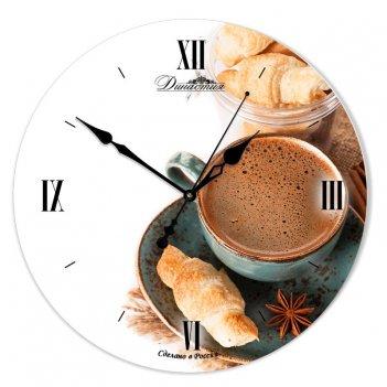 Настенные часы из стекла династия 01-076 кофе с корицей