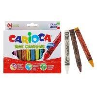 Мелки восковые 24 цвета carioca wax crayons maxi 100/12 мм круглые, толсты