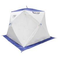 Палатка призма 200 (2-сл) с 2 входами, люкс в95т1, бело-синяя