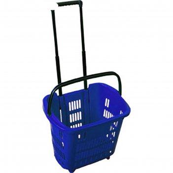 Корзина-тележка на 4 колесах пластиковая, 34 л, цвет синий