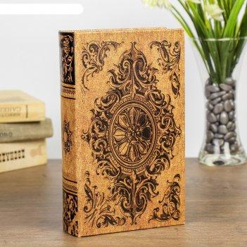 Сейф-книга дерево медальон и вензеля кожзам 21х13х5 см