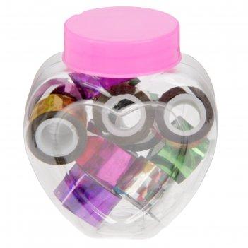 Клейкая лента пластик в банке голография (набор 10 шт) цвета микс 1,2смх1м